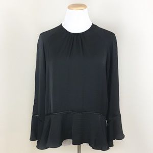 Mossimo Black Silky Ruffle Long Sleeve Blouse
